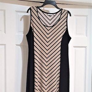 SUSAN GRAVER MAXI DRESS BLACK AND TAN 1X